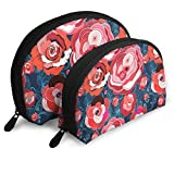 Multi-Colored Summer Different Roses Travel Portable Cosmetic Bags Organizer Set of 2 for Women Teens Girls