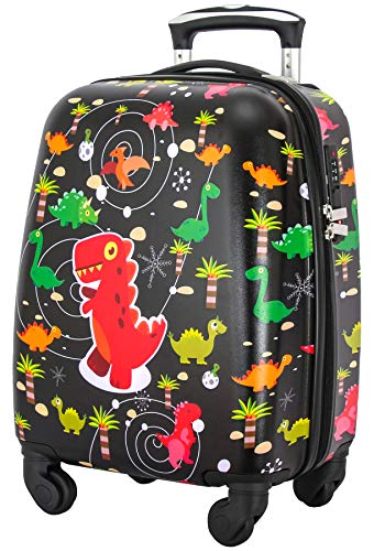 Lttxin cute kids suitcase pull along boys travelling with 4 wheel carry on luggage hard shell 18inch (black)