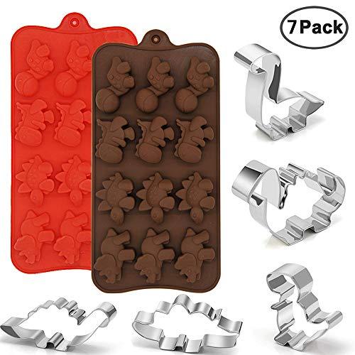 2 Paquetes de Silicona Moldes de Dinosaurio 5 Paquetes Cortadores de Galletas de Acero Inoxidable, Molde de Chocolate de Calidad Alimentaria, Suministros para Fiestas Decoraciones Hechas A Mano