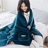 Multifuncional Manta con Mangas Y Bolsillo para Los Pies, Super Suave Fleece Sherpa Cálida Chal Usable Manta Fluffy Batamanta-Azul 80x200cm(31x79inch)