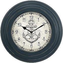 Nautical LA Crosse 14 INCH Distressed Blue Metal Wall Clock w/Anchor DIAL