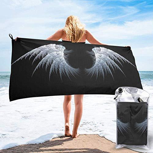 Toalla de Playa White Wings 27.5 'X 55',Brain Ultra Soft Sand Microfibra Portátil Absorbente de Agua Multi Microfiber Manta de Toalla de Playa sin Arena