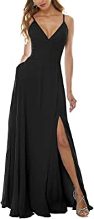Jonlyc A-Line V-Neck Bridesmaid Dresses Side Split Chiffon Long Formal Evening Gowns with Pockets
