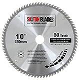 Saxton TCT Lame de scie à bois circulaire 250mm x 30mm x 80dents pour scie Bosch, Makita, etc. – pour scies de 255mm