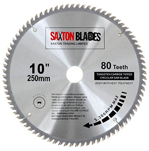 Saxton - Disco circular de TCT para sierra circular para madera de 250 x 30 mm y 80 dientes, se adapta a sierras de 255 mm