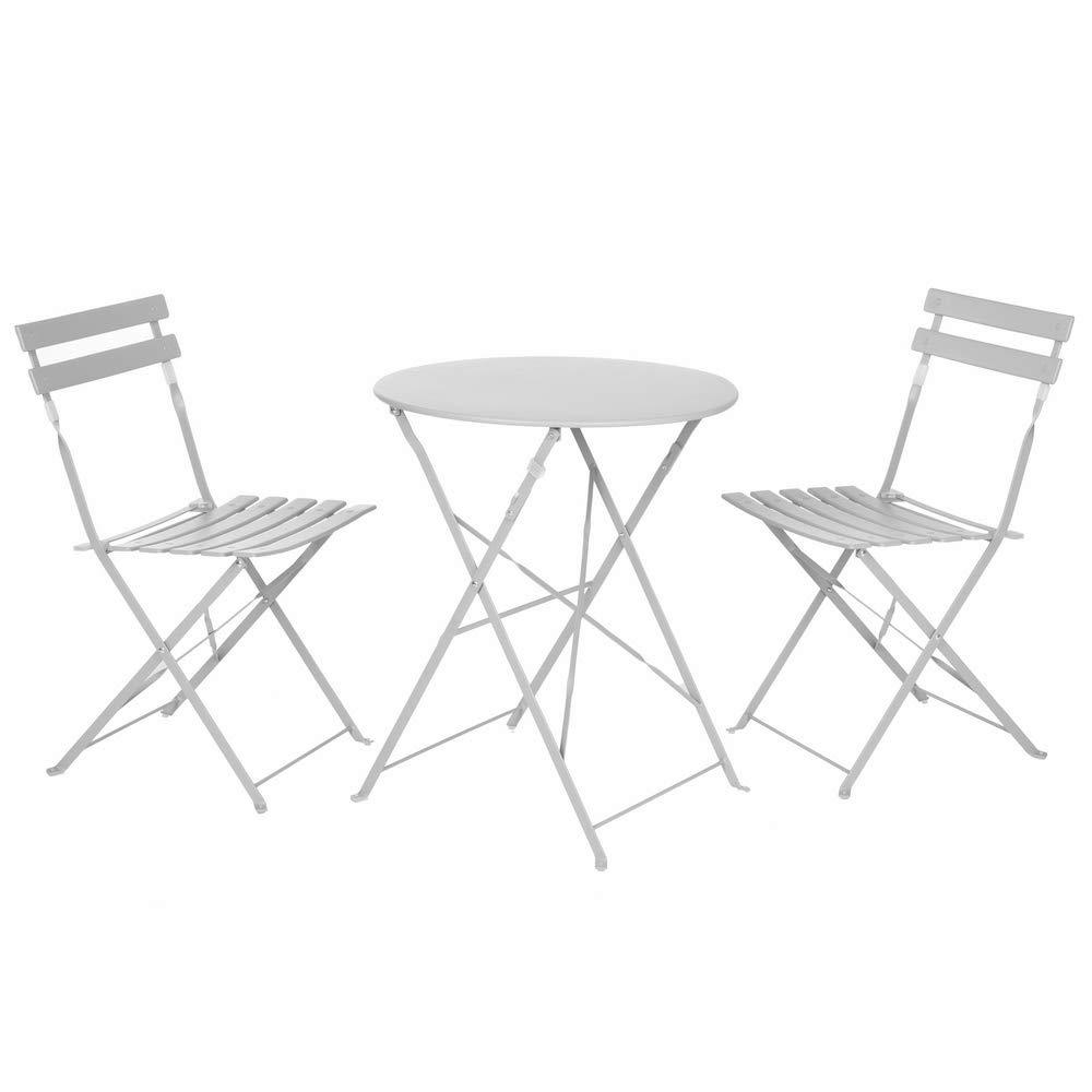 Conjunto de Mesa y sillas de jardín Gris de Acero - LOLAhome: Amazon.es: Jardín