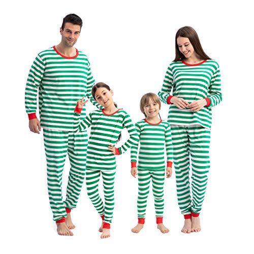 Christmas Matching Family Pajamas Set Holiday PJs Sleepwear Loungewear (X-Large,Green-Stripe Men)