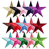 Star Iron on Patches 15 Colors Embroidered Decorative Cute Applique Badge Sparkle Patch for Repairing Kids Girls Women Clothes Holes Hats Jackets Bags Vests Jeans DIY Garment Decorations Accessories