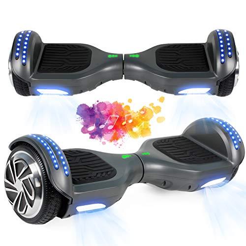 "SISGAD Hoverboard con Ruedas de 6.5"", Eléctrico Self-Balancing Overboard Self Blance Scooter 2x300W con LED Luces, Bluetooth (Pintada-Bluetooth)"