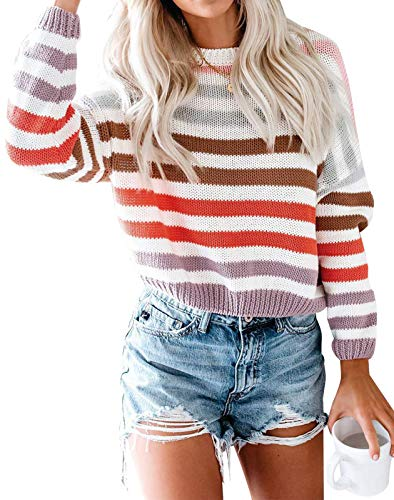 ZESICA Women's Long Sleeve Crew Neck Striped Color Block Casual Loose Knitted Pullover Sweater Tops Purple
