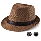 Mens Fedora Hats Trilby Unisex - Coffee Straw Hat for Male Sun Hat Women Trilby...