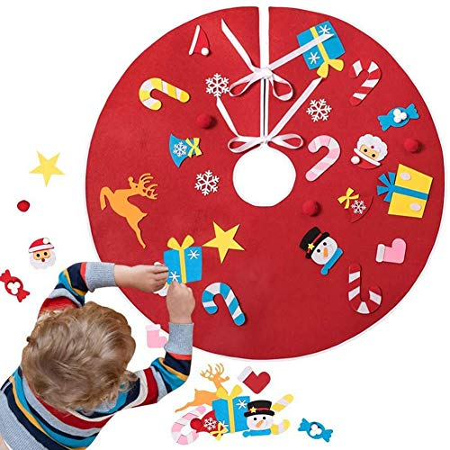 WLHER DIY Christmas Tree Skirt, DIY Felt Xmas Tree Skirt Kits with 26Pcs Tree Ornaments for Toddlers Kids Christmas Holiday Decorations Gifts,Red