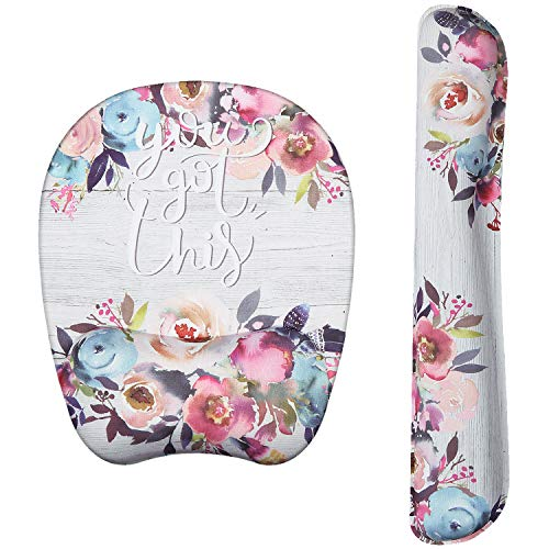 Holilife Wrist Rest Mouse Pad, Non-Slip Mouse Mat with Comfortable Memory Foam Padding and Ergonomic Design for PC Computer Laptop Mac (Watercolor Flowers, Bundle)