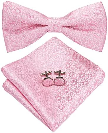 Dubulle Mens Silk Pink Bow Tie and Pocket Square Set for Wedding Tuxedo product image