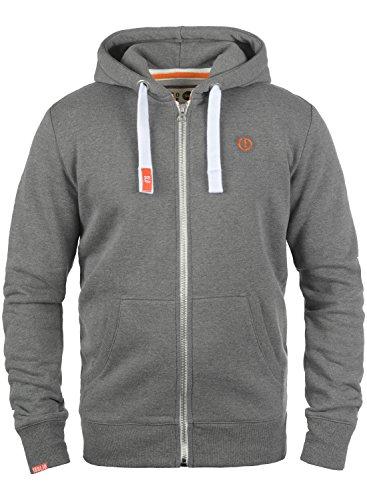 !Solid BennZip Herren Sweatjacke Kapuzenjacke Hoodie mit Kapuze und Reißverschluss, Größe:XL, Farbe:Grey Melange (8236)