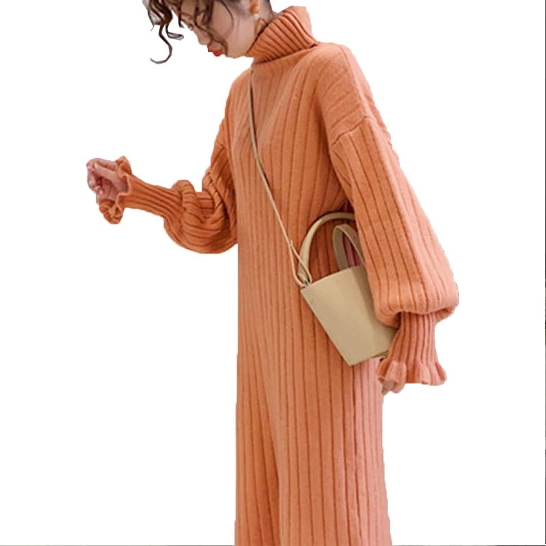 [美しいです] ハイネック プルオーバー セーター ニットワンピ ボトムシャツ カジュアル ニット ワンピース インナーウェア ロングセーター