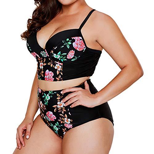 UOFOCO Women Plus Size Swimsuit Sexy Print Bikini Set Brazilian Swimwear Beachwear Black