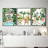 Póster mural de la pintura de la lona de la playa, piscina, Marruecos, selva tropical columpio hierba corte madera decoración de la sala de estar 40 x 60 cm x 3 sin marco