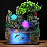 Desktop Fountain Waterfall Decor,Atomizing Desktop Humidifier with Rockery,Aquariums,Plant Atomizing Humidifier for Office Home Bedroom Desk Decoration
