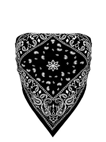 Design by Olivia Women's Sexy Paisley/Tie Dye Bandana Tube Crop Top Shirt- Made in USA Black M