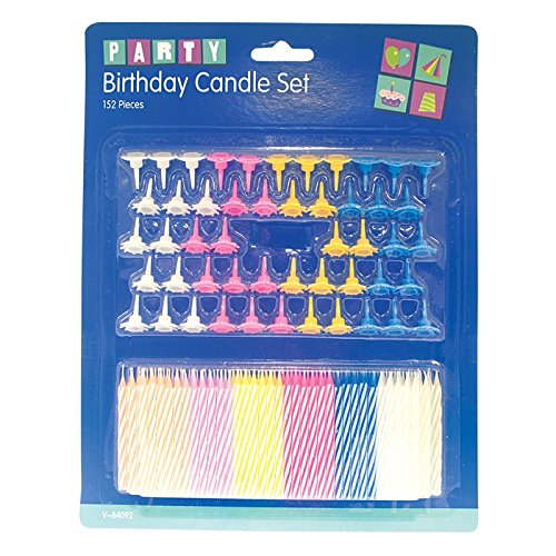 Invero® 152 Set Pack of Coloured Kuchen Kerzen mit Halter für Geburtstagsfeiern Hochzeit oder Anderen Vertragsparteien