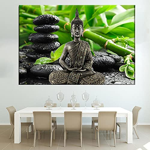 LZASMMVP 1 Pezzi Buddha Zen Verde bambù Sfondo Poster Casa Moderna Soggiorno Decorativo Wall Art Immagini Modulari | 60x90 cm Senza Cornice