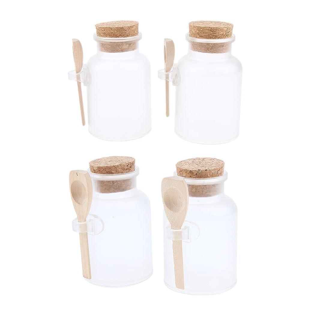 アルバニーパノラマみぞれD DOLITY 4本 バスソルトボトル クリア 木製スプーン 多目的 調味料ボトル 塩 唐辛子