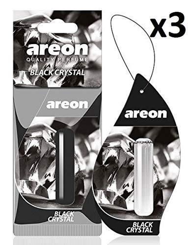 AREON Liquid Auto Parfüm Schwarz Kristall Autoduft Hängend Duftflakon Parfüm Flakon Lufterfrischer Aufhängen Anhänger Spiegel 5ml 3D (Black Crystal Pack x 3)