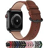 Fullmosa Compatible Correa Apple Watch 38mm/40mm/41mm Cuero,para 14 Colores Correa iWatch SE/Apple Watch 7/6/5/4/3/2/1 Nike+ Hermes&Edition, Blanco + Hebilla Oro Rosa, 38mm/40mm/41mm