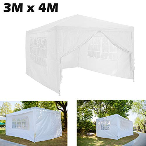 AutoBaBa Garden Gazebos, 3x4m Garden Gazebo Marquee Tent with Side Panels, Fully Waterproof, Powder Coated Steel Frame for Outdoor Wedding Garden Party, White