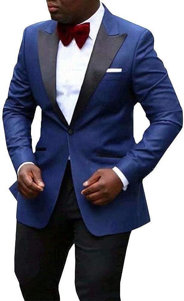 RONGKIM Men Suit 2018 Slim Fit 2 Piece Suit Shawl Lapel One Button Wedding Party Blazer Groom Tuxedos Jacket+Pants Royal Blue