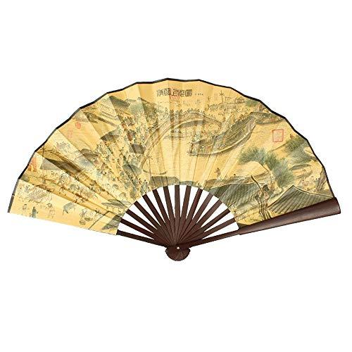 Bleyoum Abanico Plegable 24.4 ncho Abierto Carácter Chino Imprimir Costillas De Bambú Ventilador De Mano Plegable para Hombres