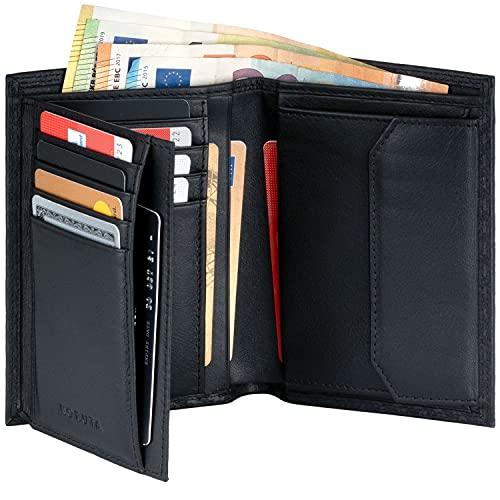 KORUTA® Leder Geldbörse Herren mit RFID Schutz I Portemonnaie Groß mit Münzfach I 13 Fächer I Echtleder Geldbeutel für Männer I Brieftasche Wallet Portmonee schwarz