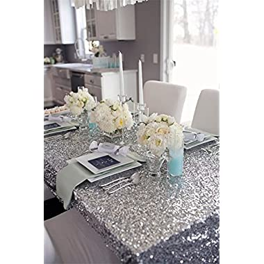 B-COOL 50 x50  Square Silver Sequin Tablecloth Thanksgiving Tablecloth Sparkle Tablecloth Glitz Tablecloth Sequin Fabric Tablecloth