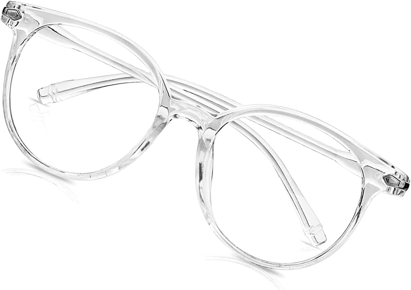 Craebuer Blue Blockers Glasses for Women Men, Retro Round Blue light Blocking Reading Eyeglasses with Lightweight Frame, Anti Eyestrain UV Glare Filter Eyewear