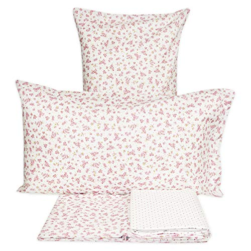 RP Juego de sábanas de Puro algodón con Estampado Floral de cañas moradas - Fabricado en Italia - Algodón de Trama tupida 30-27 - 2 plazas. Cama de Matrimonio – Rosa Antiguo