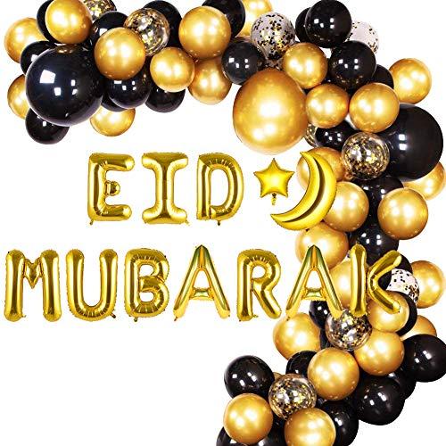 wukou Ramadan Mubarak Eid Mubarak Kit de décoration de fête avec arche de ballons en latex avec confettis dorés noirs et dorés et ballons en aluminium pour lAïd Mubarak