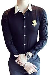 SHOWNO Mens Slim Hair Stylist Work Fashion Floral Print Lapel Collar Button Down Dress Work Shirt