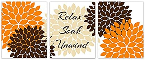 Amazon Com Bathroom Wall Art Relax Soak Unwind Orange Brown And Tan Bathroom Decor Bath92 Posters Prints