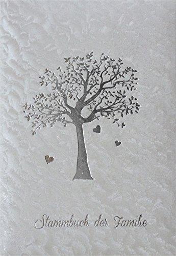 Stammbuch AHNENBAUM - weiß, Designfolie, Silberprägung, Stammbuchformat A5