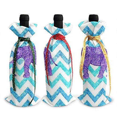 3 fundas para botella de vino, diseño de elefante tribal, ondas prismáticas, decoración de mesa, decoración para fiestas de Navidad, cena, regalo