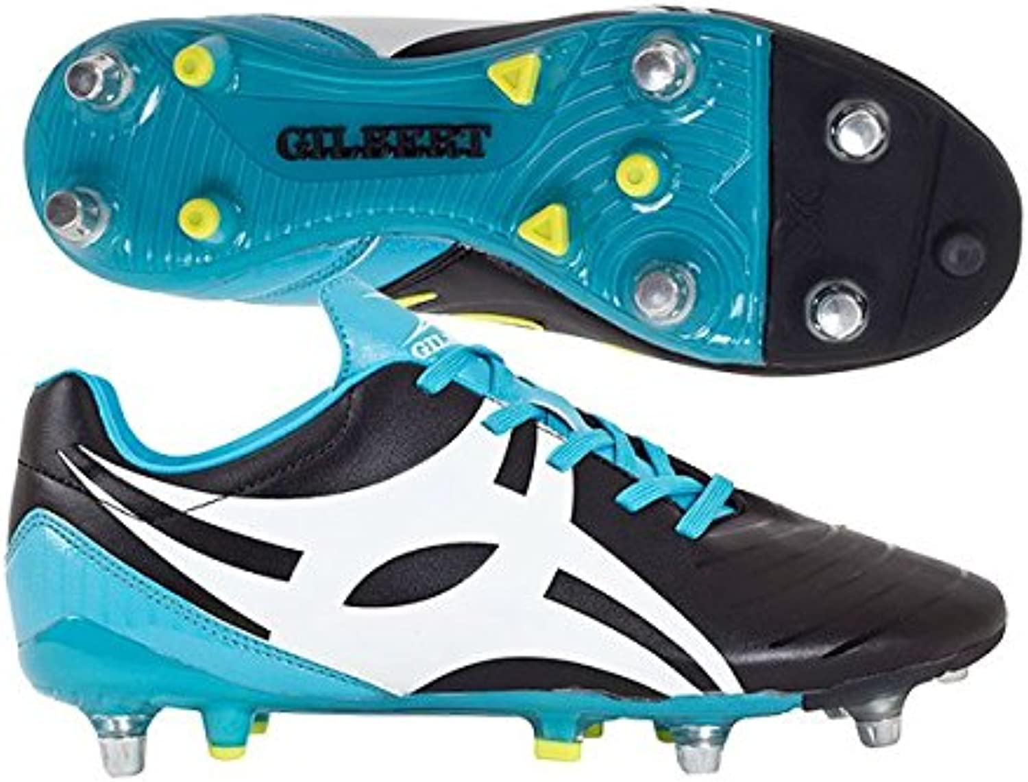 Gilbert Ignite Touch 6 Stud Hybrid SG Rugby Boots - Black bluee Yellow