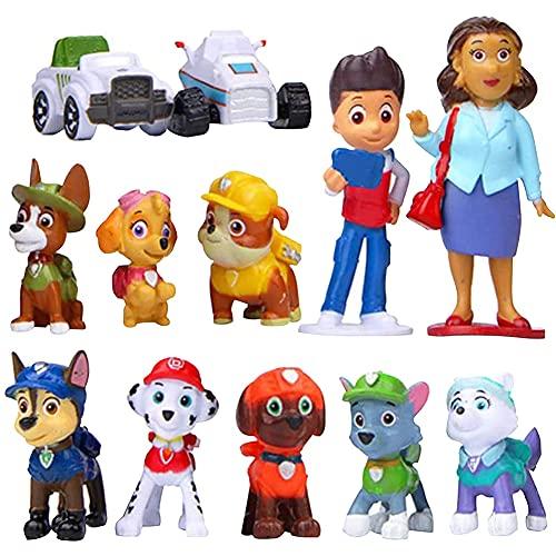 Hilloly Mini Figuren Set, 12 Stück Paw Patrol Mini Figuren, Paw Patrol Tortenfiguren Paw Patrol Mini Figuren Tortendeko Cake Topper Kuchendeko Geburtstags Party liefert Cupcake Figuren