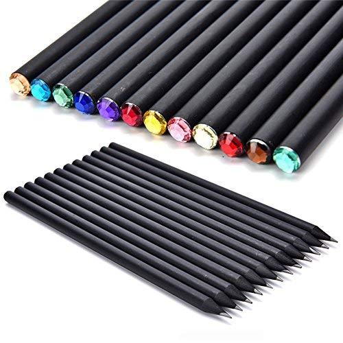 AUTFIT Bleistifte Set HB Schwarz Rod mit farbigen Diamant Top Skizze Bleistifte für Kinder Schreiben Drawing (12pcs)