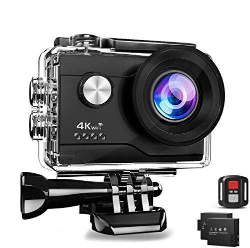 Aorula 4K WiFi 20MP Ultra HD Action Cam Impermeabile Sott'Acqua 40m 2 Pollici Schermo 2.4G Telecomando 170° Grandangolare con 2 Batterie e Accessori Kit