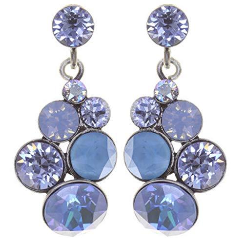 Ohrring PETIT GLAMOUR | KONPLOTT - Exklusiver Modeschmuck mit Swarovski Elements | Ohrhänger mit Glitzer-Steinen | Ohr-Schmuck für Damen in Blau