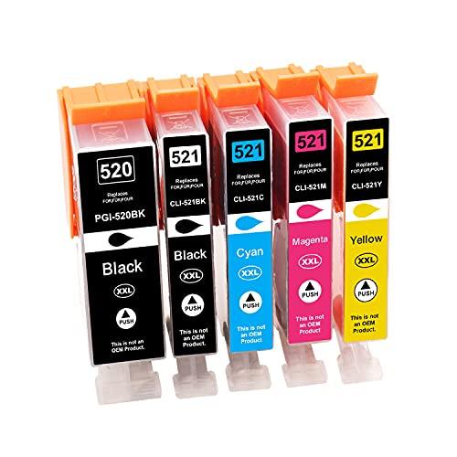 Tinnee 5 unidades 520xl 521xl Cartucho de tinta, Reemplazo para Canon PGI-520 CLI-521 cartuchos, compatibles con Canon Pixma MP560 MP640 MP550 MP540 MP620 MP630 MX860 MX870 MP980 MP990 iP3 600