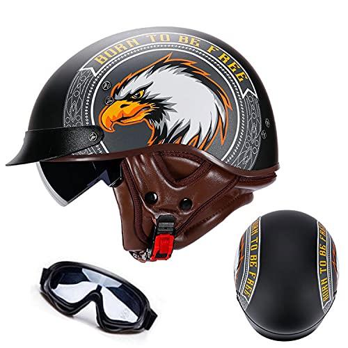 Halbhelme Motorrad Brain-Cap,Motorradhelm Herren Damen ECE/DOT Zertifiziert Halbschale Jet-Helm Scooter-Helm Mofa-Helm Retro Halbschalenhelm Built-in Visier für Cruiser Chopper Biker(Color:F,Size:M=