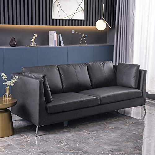 Panana Luxury 3 Seater Sofa Faux Leather/Fabric Sofa Settee Couch for Living Room Office Lounge (Black PU)