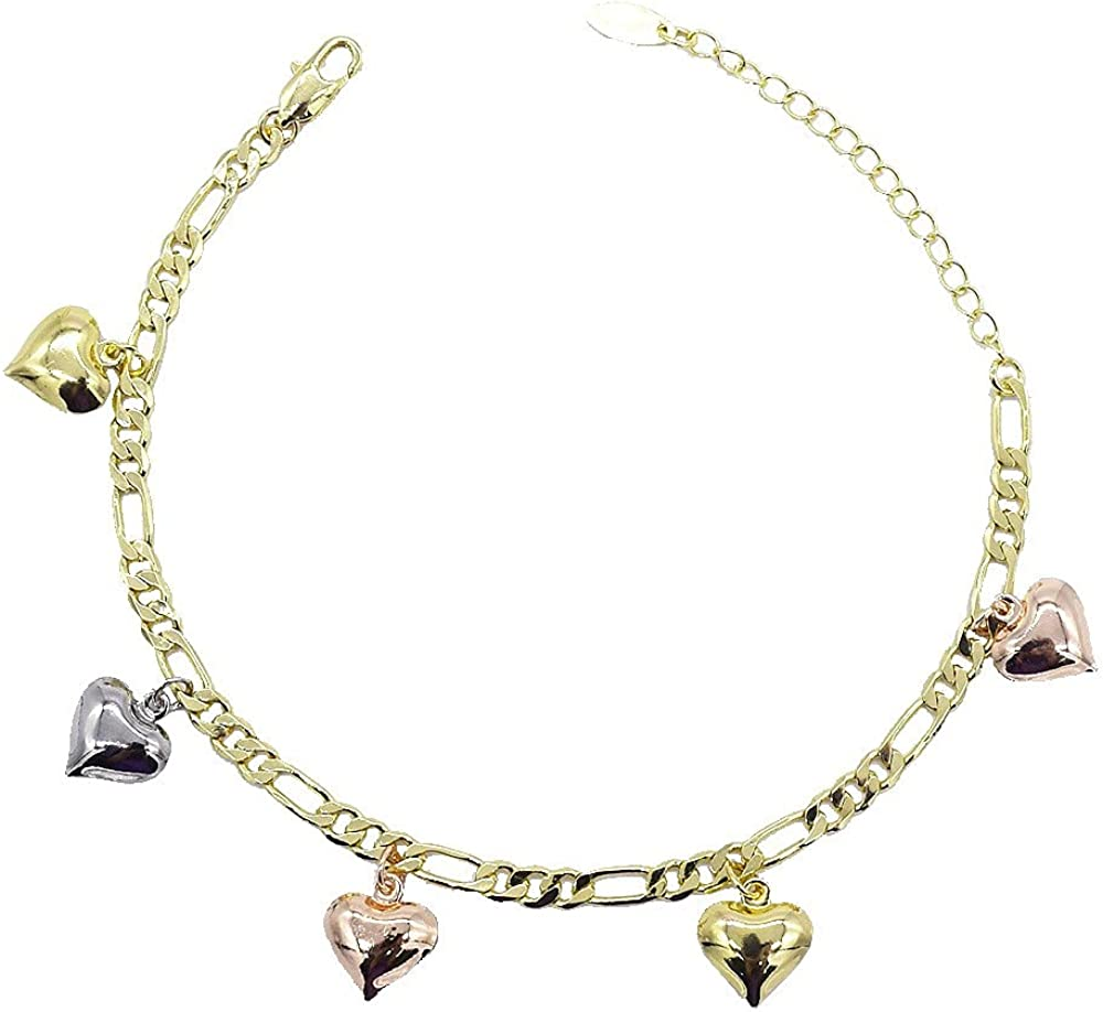 Women's Girls Layered Real Gold Plated Figaro Link Anklet Bracelet With Hearts 10